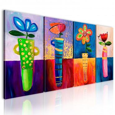 Cuadro pintado - Flores de...